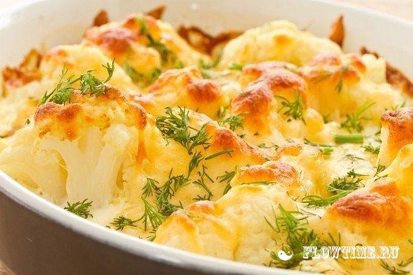 цветная капуста в духовке с яйцом и сыром и курицей